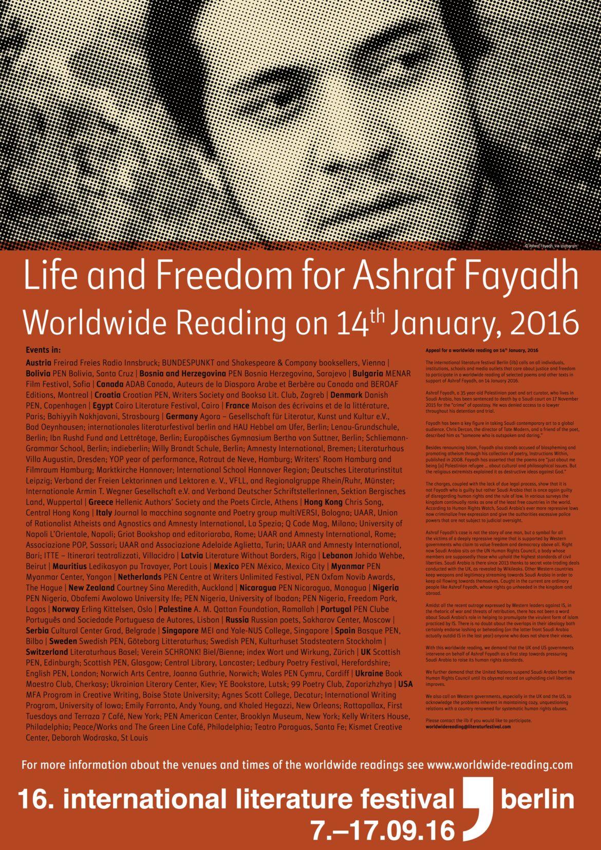 14.01.2016 Lesung: von Gedichten und Texten als Unterstützung für  Ashraf Fayadh